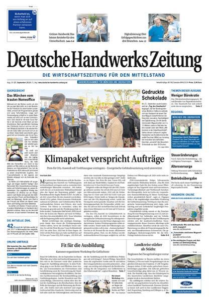Cover Deutsche Handwerks Zeitung 18/2019