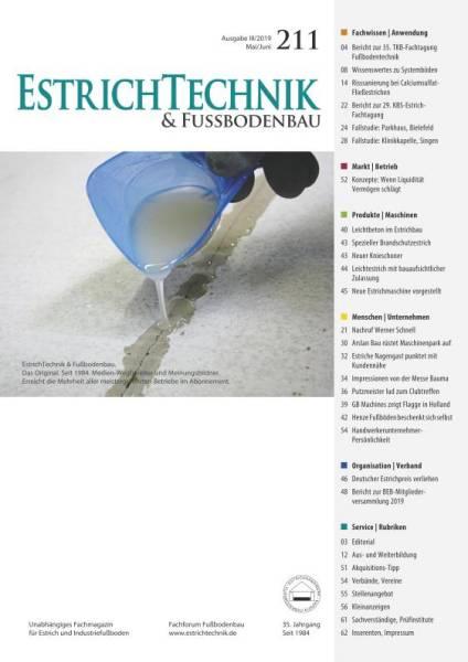 Cover EstrichTechnik & Fußbodenbau 3/2019